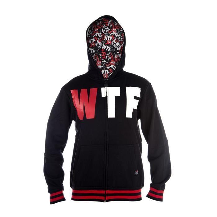 WTF Sweat à capuche Homme Logo - Noir / Rouge
