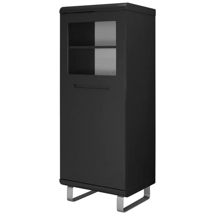MDF E1 laqué noir brillant - L 54 x P 45 x H 143 cm - 1 porteVITRINE - ARGENTIER - VAISSELIER