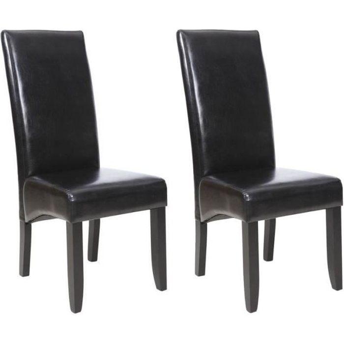 CUBA Lot de 2 chaises de salle à manger - Simili noir- Style contemporain - L 48 x P 64 cm