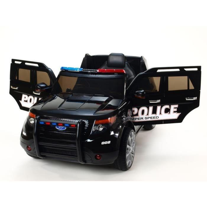 Voiture électrique Police 12V - Noir