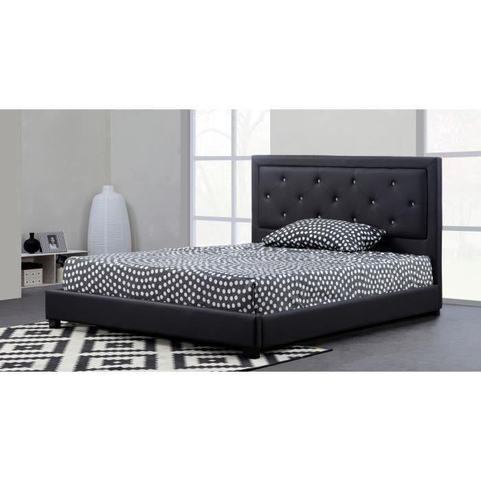 FILIP Lit adulte contemporain simili noir - Sommier et tête de lit capitonnée inclus - l 140 x L 190