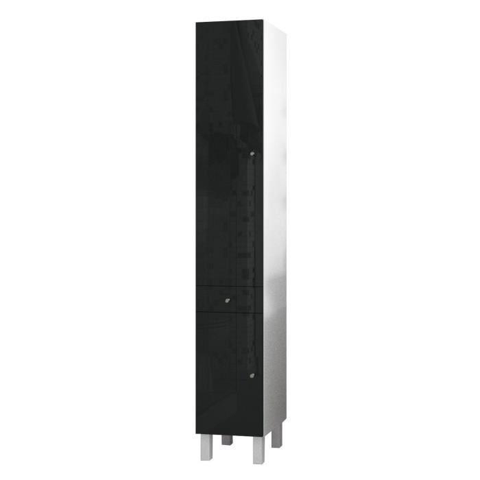 CORAIL Colonne de salle de bain L 30 cm - Noir laqué