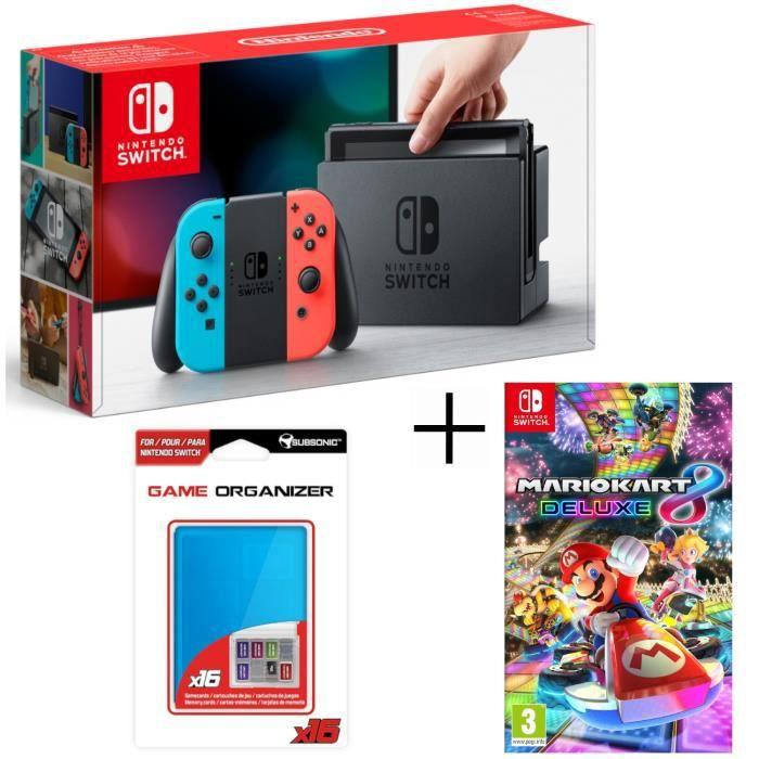 Console nintendo switch avec paire de joy con bleu néon rouge néon mario kart 8 deluxe boitier rangement pour jeux et carte sd