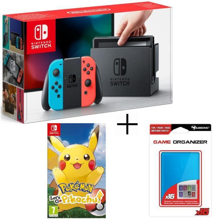 Pack nintendo switch néon pokemon lets go pikachu boitier bleu range jeux et carte sd pour switch