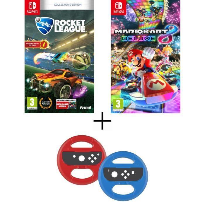 Pack 2 jeux Switch : Rocket League + Mario Kart 8 Deluxe + volants