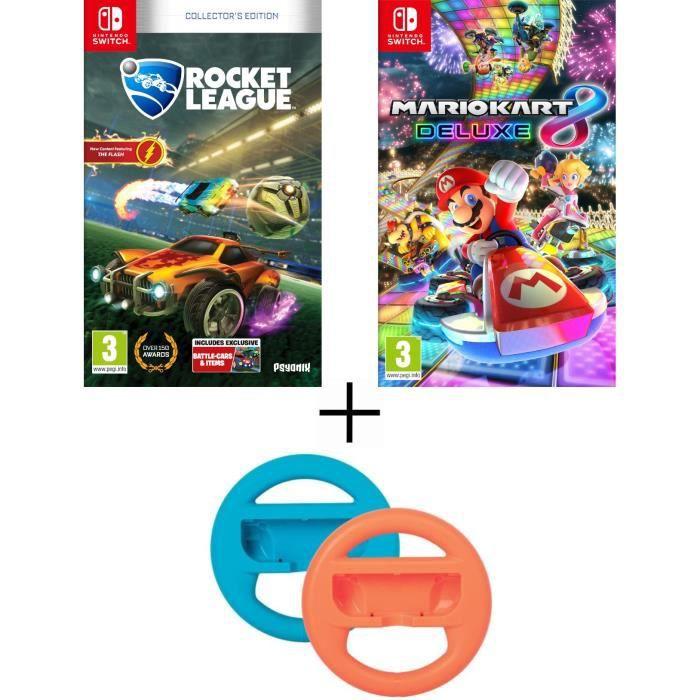 Pack 2 jeux Switch : Rocket League + Mario Kart 8 Deluxe + volants XL