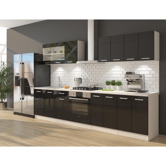 ULTRA Cuisine complète avec meuble four et plan de travail inclus L 300 cm - Noir brillant