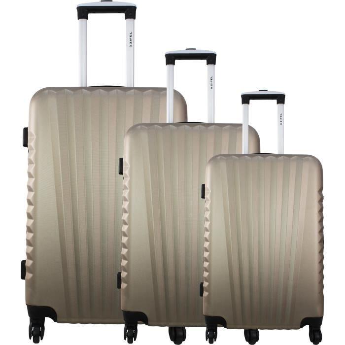 Zifel set de 3 valises rigide abs 4 roues 50 60 70cm santiago champagne