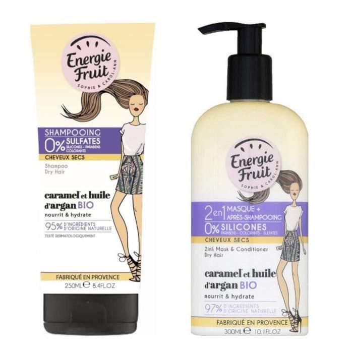 Lot ENERGIE FRUIT Shampoing 250 ml + Masque et après-shampoing 300 ml pour cheveux secs CARAMEL et Huile d'Argan