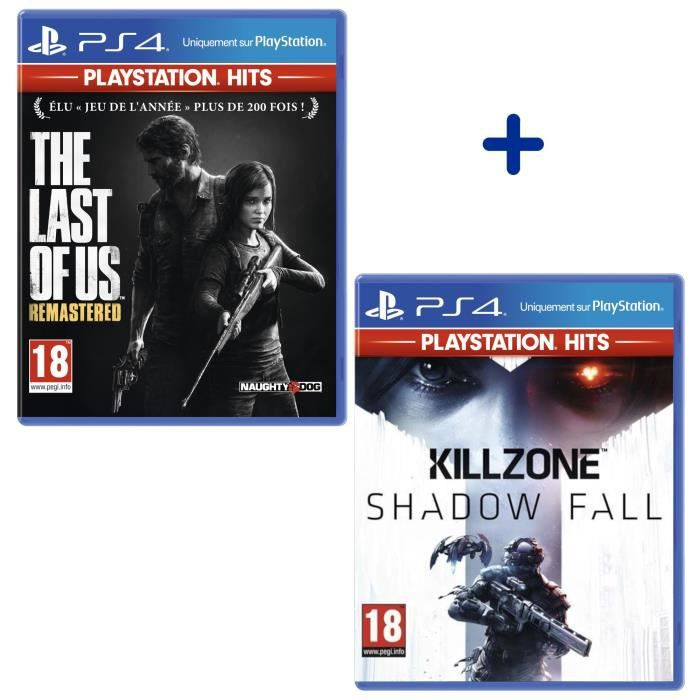 Pack 2 Jeux PS4 PlayStation Hits : The Last of Us Remastered + Killzone Shadow Fall