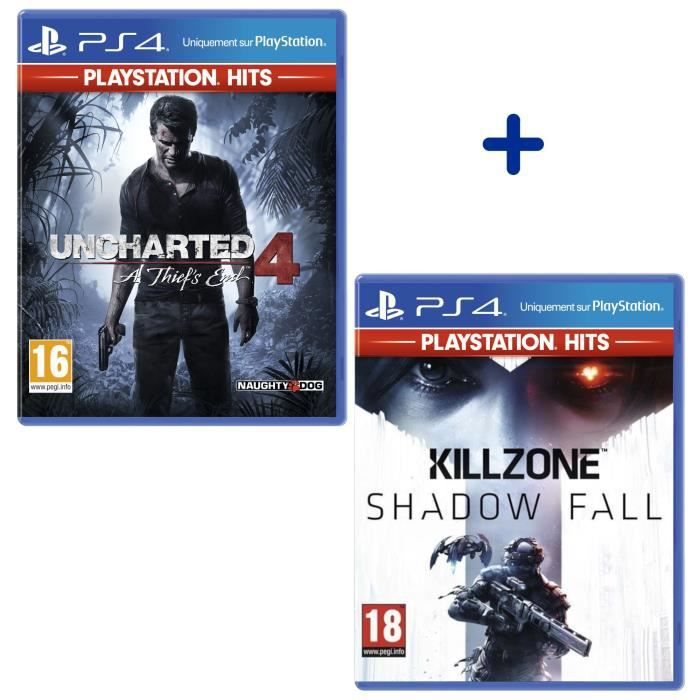 Pack 2 Jeux PS4 PlayStation Hits : Uncharted 4: A Thief's End + Killzone Shadow Fall