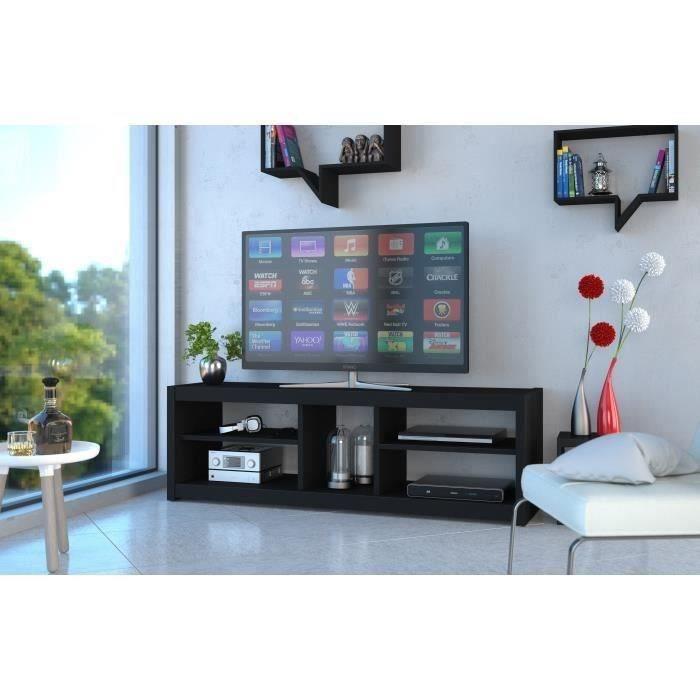 Panneaux de particules Noir - L 125 x P 41 x H 36 cm - 4 niches et 1 espace console - Fabrication françaiseMEUBLE TV - MEUBLE HI-FI