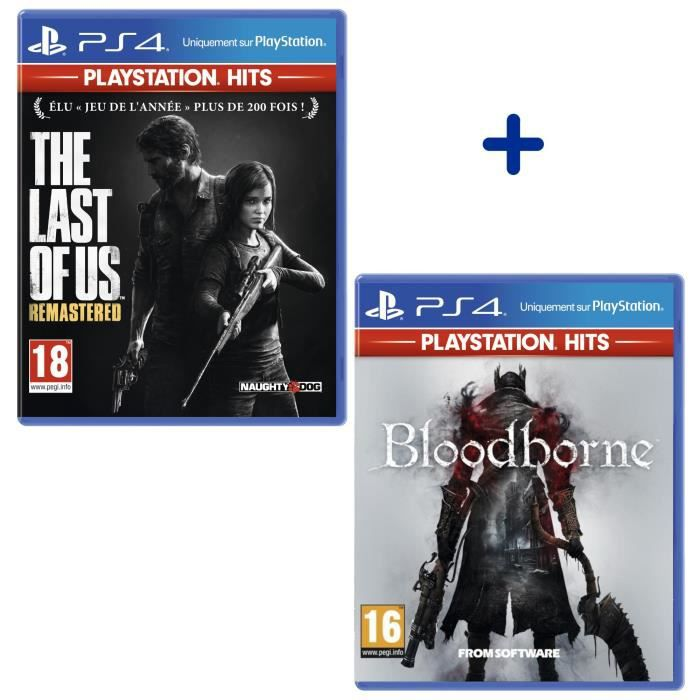 Pack 2 Jeux PS4 PlayStation Hits : The Last Of Us Remastered + Bloodborne
