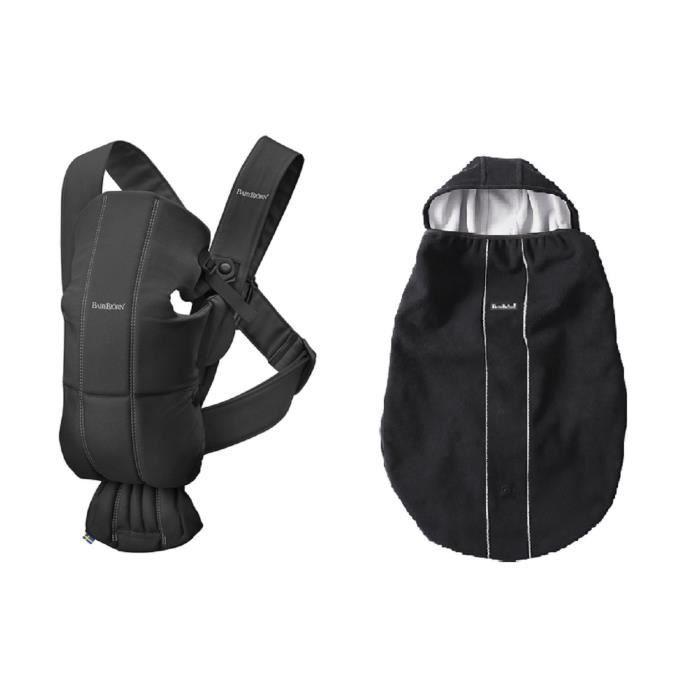 BABYBJORN Porte-bébé mini noir en coton + cape