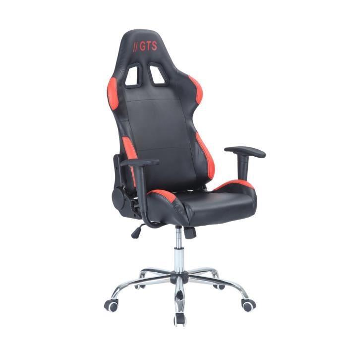 Chaise Gamer Baquet Race - Simili et PVC - Noir et rouge - L 68 x P 54,5 cm