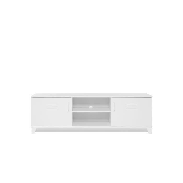 MDF et panneaux de particules blanc - L 160 x 40 x H 50 cm - Pieds en plastiqueMEUBLE TV - MEUBLE HI-FI