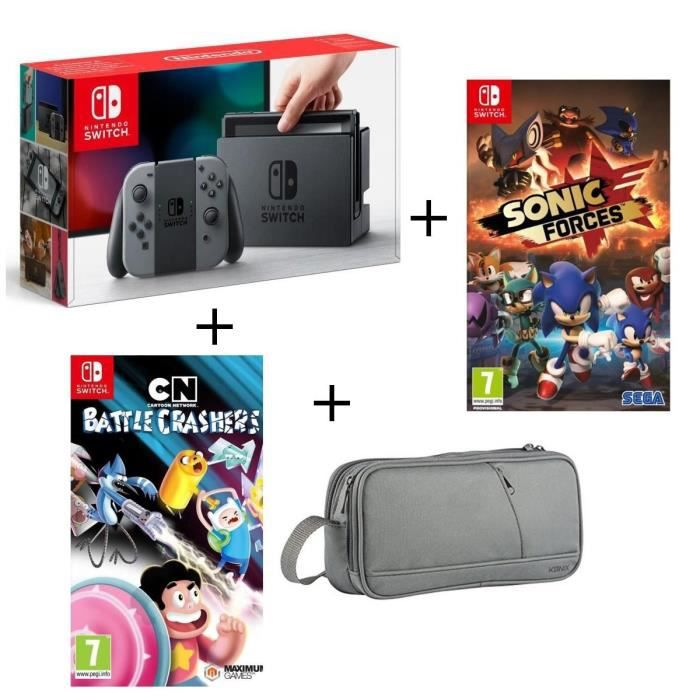 Console nintendo switch grise cartoon network battle crashers sonic forces pochette