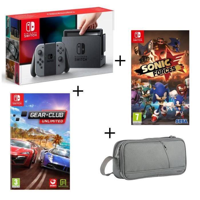 Console Nintendo Switch Grise + Gear.Club Unlimited + Sonic Forces + Pochette