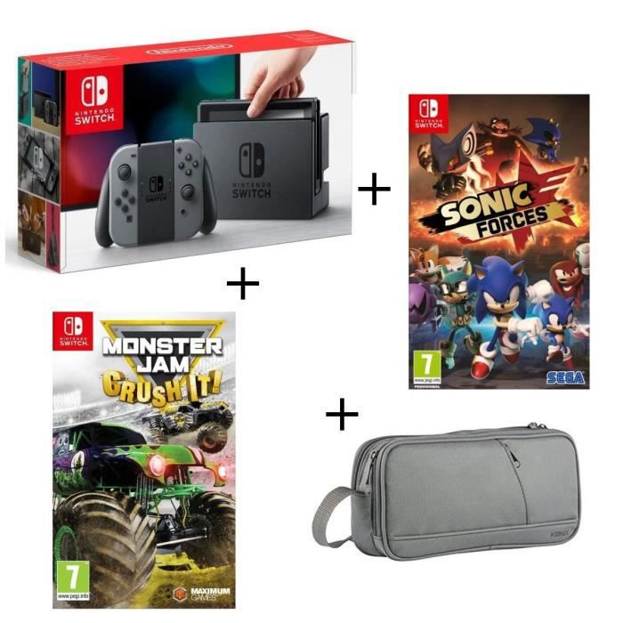 Console nintendo switch grise monster jam crush it sonic forces pochette