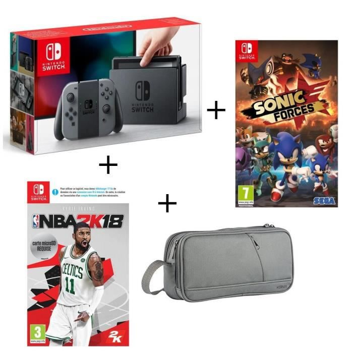 Console nintendo switch grise nb 2k18 sonic forces pochette