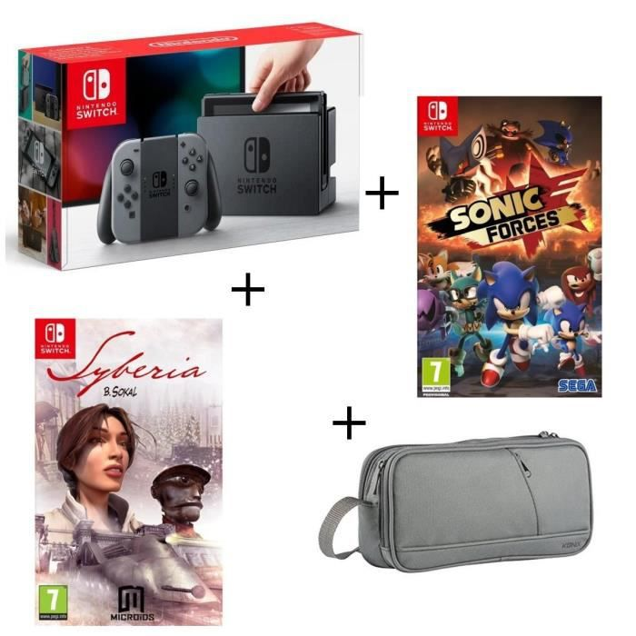 Console Nintendo Switch Grise + Syberia 1 + Sonic Forces + Pochette