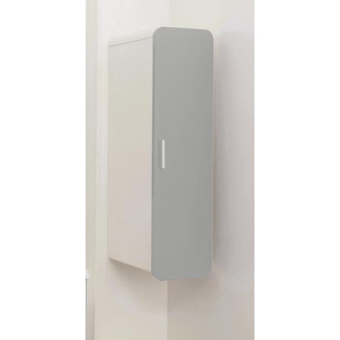 GINO Colonne de salle de bain L 30 cm - Taupe et blanc laqué