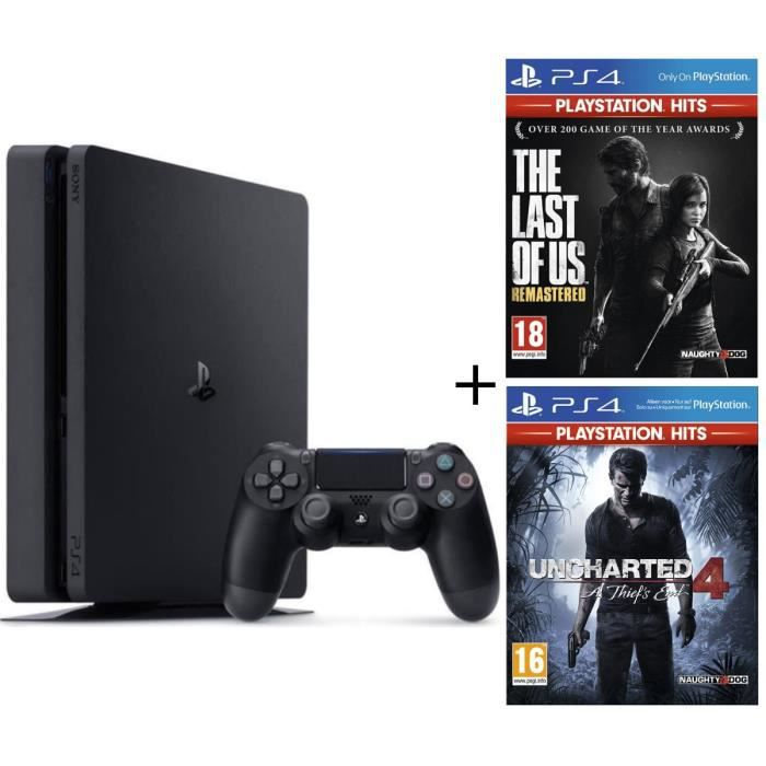 Pack PS4 500 Go + 2 Jeux PS4 PlayStation Hits : Uncharted 4 A Thief's End + The Last of Us Remastered