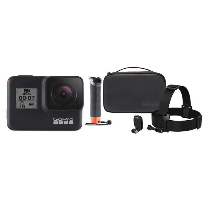 GOPRO HERO7 BLACK Caméra de sport Action Cam + Kit caméra Adventure (Poignet Flottante, Bandeau, QuickClip, Etui)