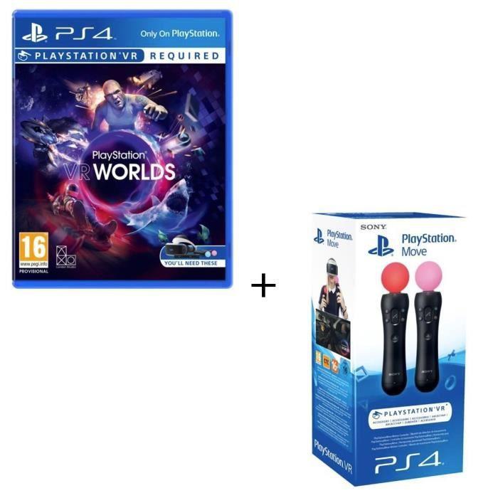 Paire Manette de détection de mouvements PlayStation Move + VR Worlds