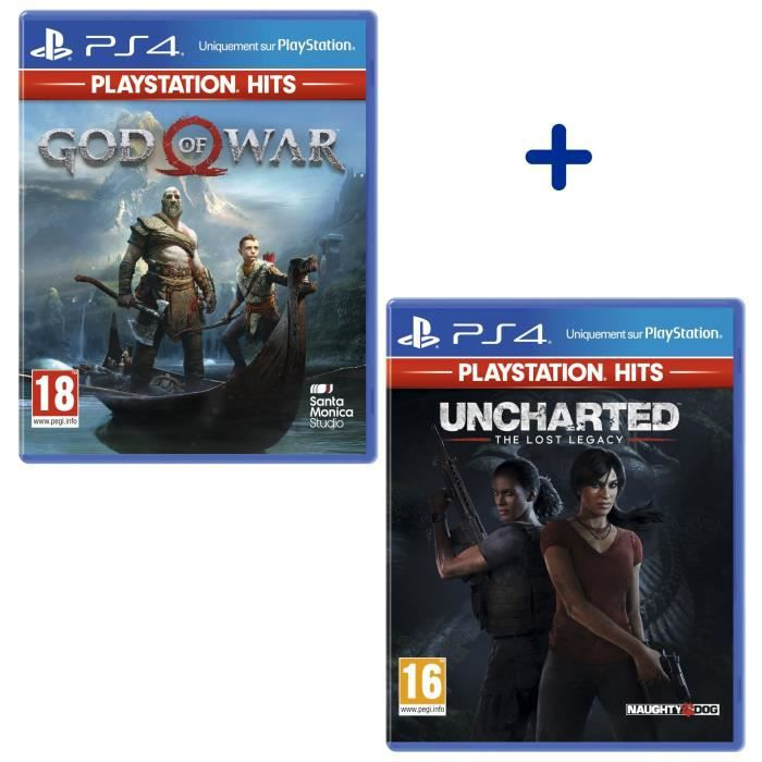 Pack 2 Jeux PS4 PlayStation Hits : Uncharted: The Lost Legacy + God Of War
