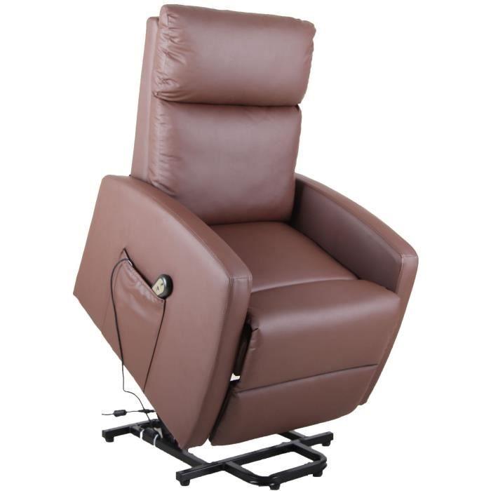 Fauteuil releveur de relaxation électrique - Tissu PVC brun choco - L70 x H83-102 x P81-161 cm - Cho