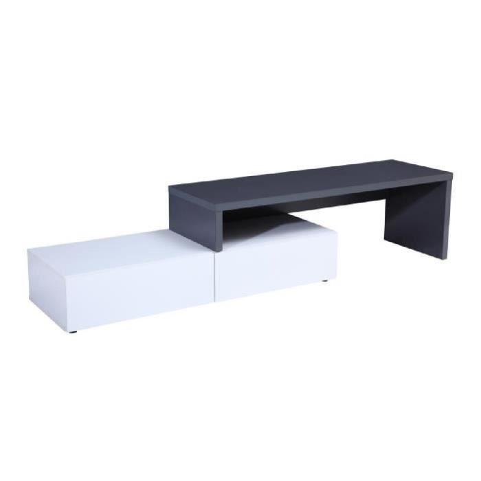 Panneaux de particules blanc et gris brillant - L 120-233 x P 39 x H 40 cm - 2 tiroirs + niche - ExtensibleMEUBLE TV - MEUBLE HI-FI