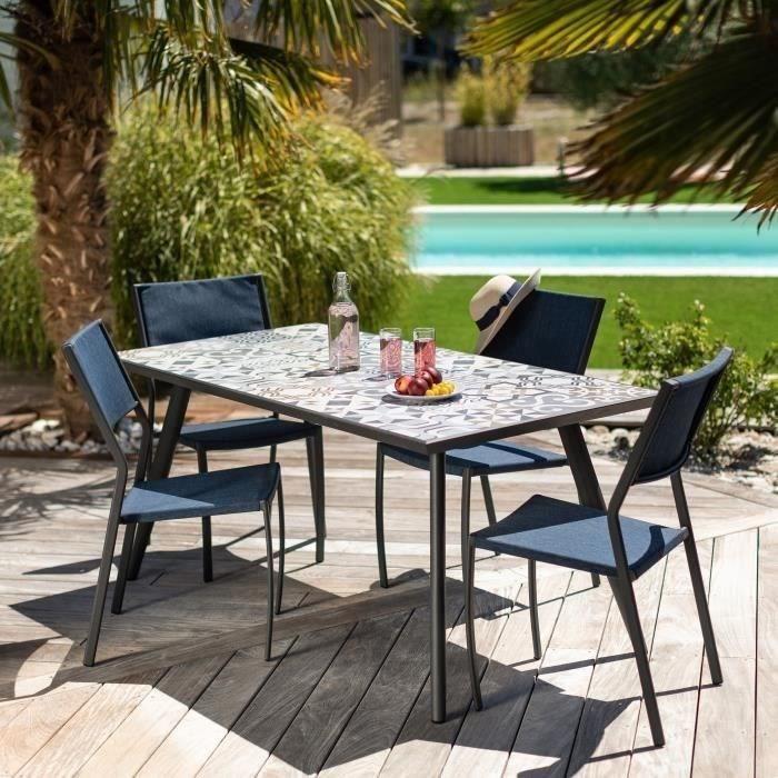 Ensemble repas de jardin 4 personnes effet mosaïque - table 160 cm +  4 chaises - GENOZA