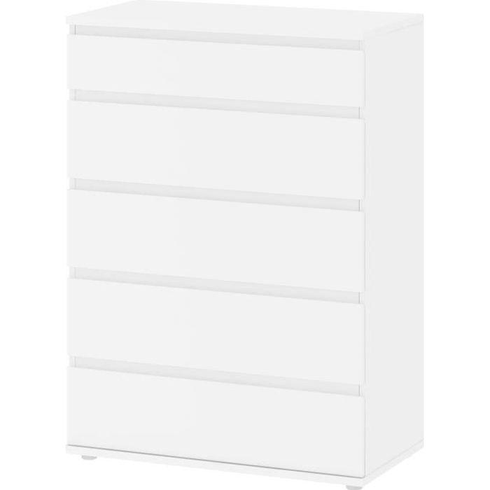 Commode 5 tiroirs - Décor blanc - L 76,8 x P 40 x H 106,60...