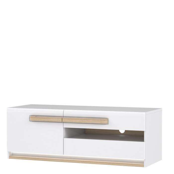 ATTENTION Meuble TV 1 portes - Décor chêne gris - 139,9 x 49,3 x 52,1 cm