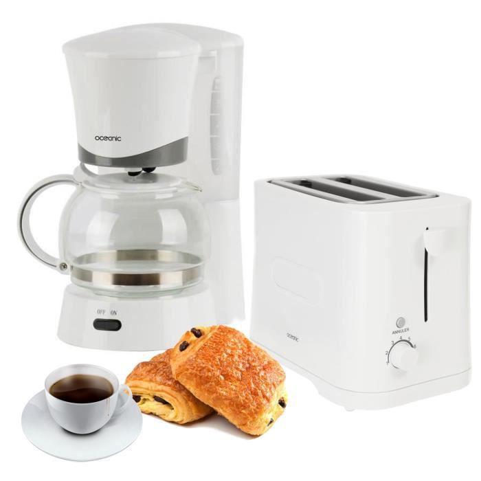 Cafetière filtre - Capacité : 0.6 L / 6 tasses - Grille pain - Puissance : 700 W - 2 fentesPACK APPAREILS DEJEUNER