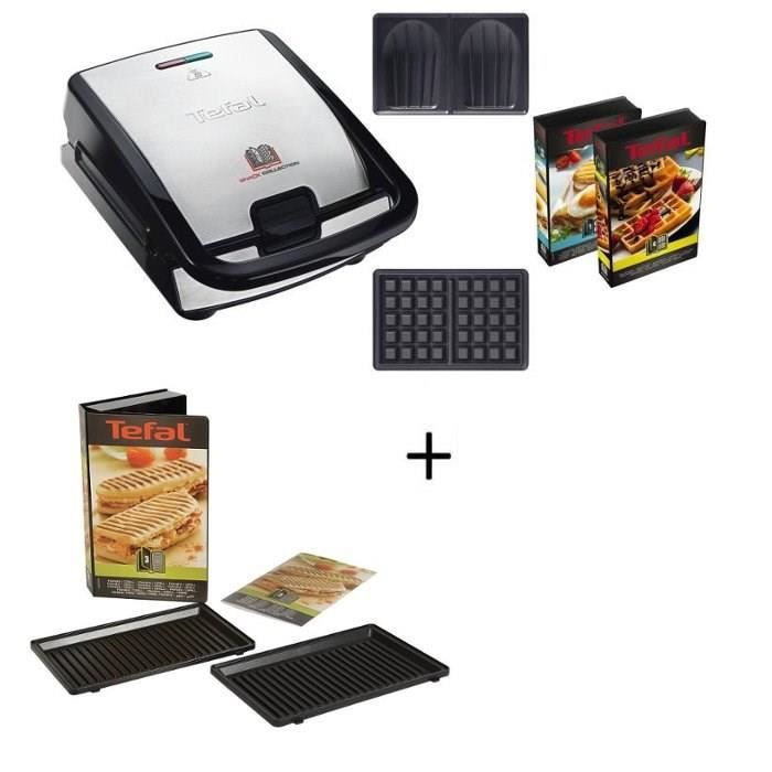 TEFAL SW853D12 Gaufrier multifonction + XA800312 Lot de 2 plaques grill panini Snack Collection offertes