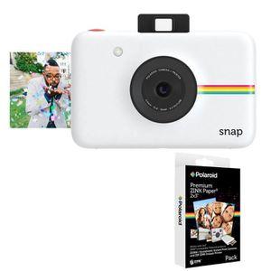 Pack POLAROID SNAP Blanc - 10 mégapixels Appareil photo instantané compact + POLAROID Recharge papier pour  SNAP (x20p)