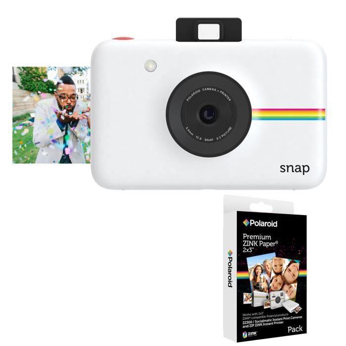 Pack POLAROID SNAP Blanc - 10 mégapixels Appareil photo instantané compact + POLAROID Recharge papie