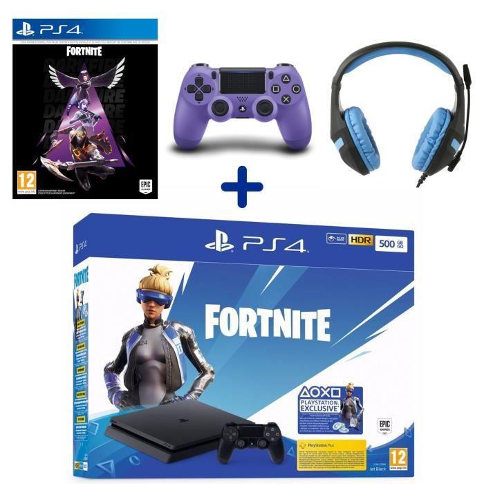 PS4 500 Go Noire + Manette DualShock V2 Electric Purple + Fortnite Pack Feu Obscur + Casque Konix PS-400 Bleu + Voucher Fortnite