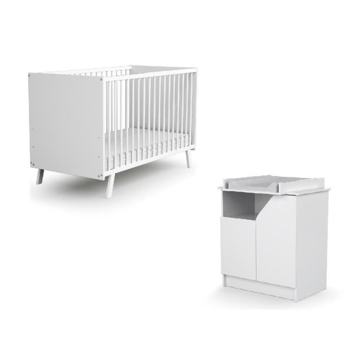 AT4 Chambre CARNAVAL blanc (Lit + Commode)