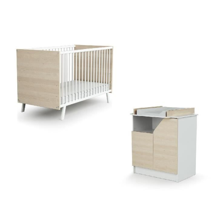 AT4 Chambre CARNAVAL bouleau (Lit + Commode)