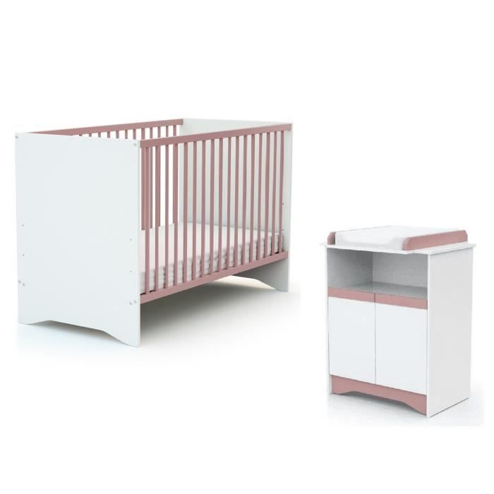 AT4 Chambre Cotillon rose (Lit + Commode)