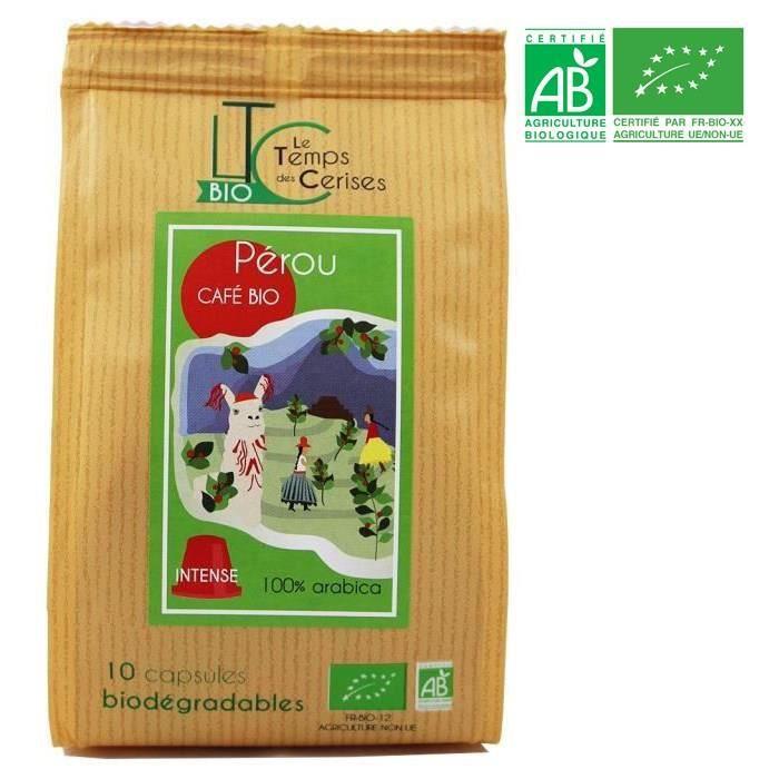 LE TEMPS DES CERISES Café Pérou Bio 10 capsules compatible Nespresso® 50 g
