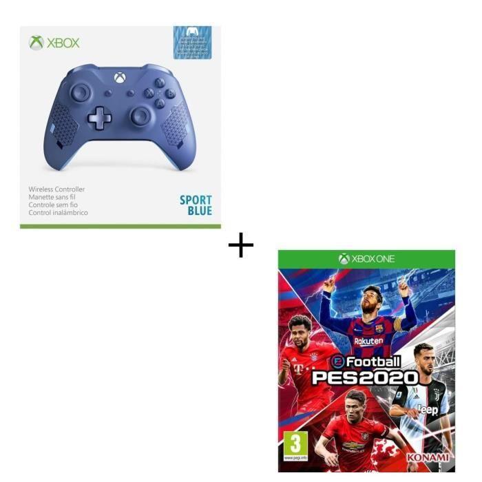 Manette Xbox sans fil Edition Spéciale Sport Blue + eFootball PES 2020 Jeu Xbox One