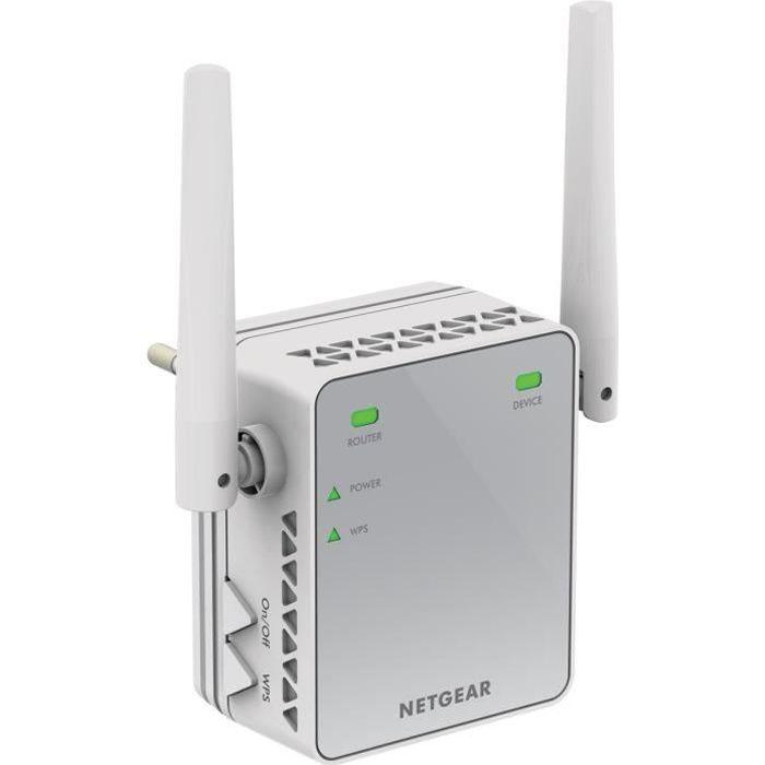 NETGEAR Répéteur WiFi N300 - Connexions WiFi jusqu'à 300 Mbps - Antennes externes pour de meilleures performancesPOINT D'ACCES