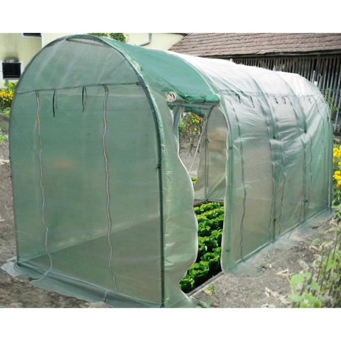 Serre de jardin tunnel structure en acier avec couverture en polyéthylène verte 9m²