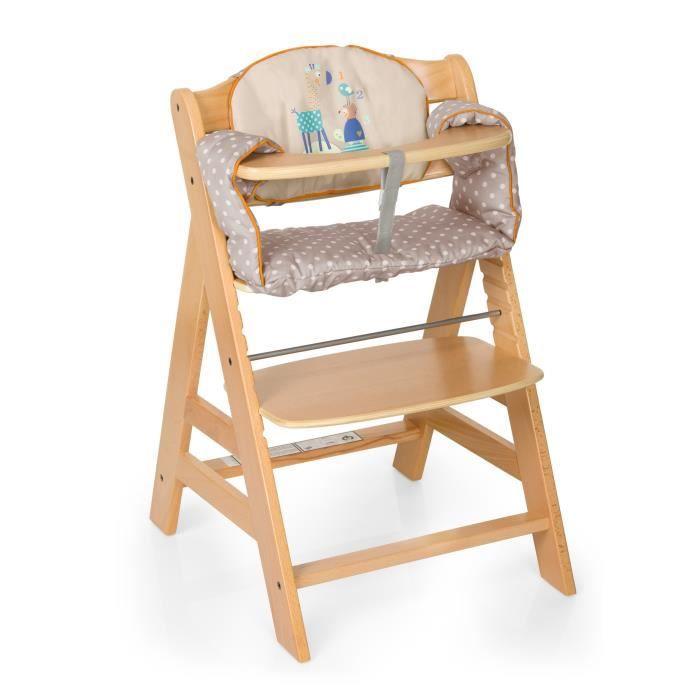 chaise bois évolutive avec coussin - Dès 6 mois jusqu'à 90 kg - Garçon et Fille - Livré à l'unitéCHAISE HAUTE - COUSSIN CHAISE HAUTE - PLATEAU CHAISE