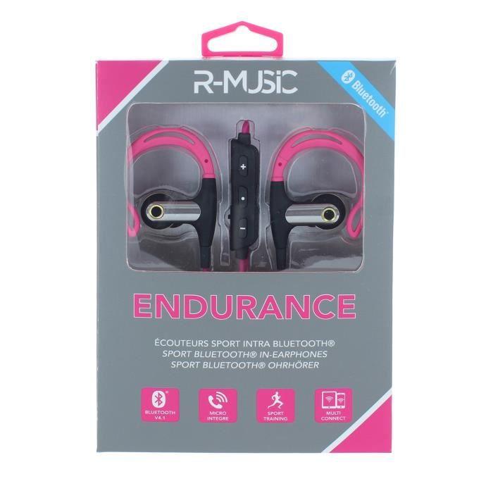 R-MUSIC Ecouteurs intra-auriculaires Bluetooth - Micro intégré - Idéal pour sportifs - Rose