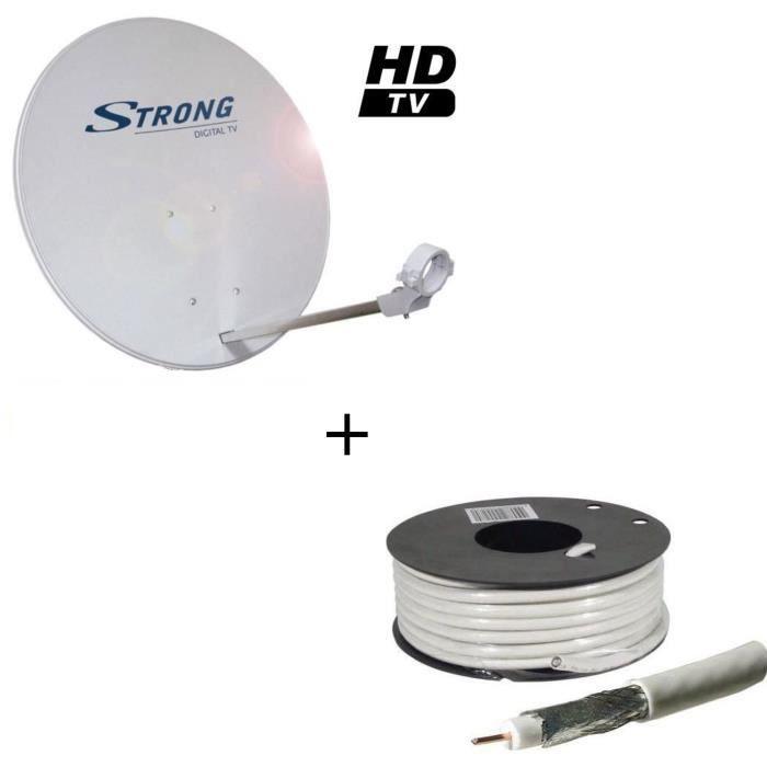 Pack STRONG SRTD63SPL702 Parabole avec tête LNB + LINEAIRE CCX17B-25 Câble antenne type 17 VATC 25m00